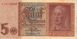 Banconota_Banconote_Lotto Di 1 Biglietto REICHSBANKNOTE_5 REICHSMARK_Serie  T 15131048-Originale 100% - 5 Reichsmark