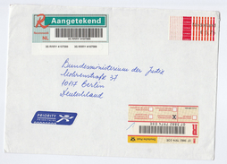 REGISTERED Air Mail NETHERLANDS COVER Stamps ATM FRAMA PT POST 5.75  To GERMANY Airmail Label Labl - Period 1980-... (Beatrix)