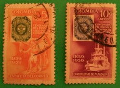 """COLOMBIA 1959 The 100th Anniversary Of Colombian Stamps - Inscribed """"1859 1959"""". USADO - USED."""