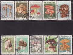 ROMANIA  1958  USED  1721-1730  MUSHROOMS, FUNGI