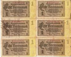 Banconota_Banconote_Lotto Di 8 Biglietti RENTENBANKSCHEIN_1 RENTEN'MARK_Serie  -Originale 100% - [ 4] 1933-1945 : Terzo  Reich