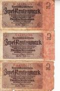 Banconota_Banconote_Lotto Di 3 Biglietti RENTENBANKSCHEIN_2 RENTEN'MARK_Serie  -Originale 100% - [ 4] 1933-1945 : Third Reich