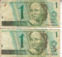 Banconota_Banconote_Lotto Di 2 Biglietti BANCO CENTRAL DO BRASIL 1 REAL_UM REAL_Serie  -Originale 100% - Brésil