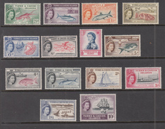 Turks And Caicos Islands 1957 Fish Birds Ships Mi 163-176 MVLH (*) #8309