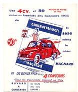 Buvard Cahier De Vacances Magnard 1956. Concours Pour Gagner Une 4CV. - Papeterie