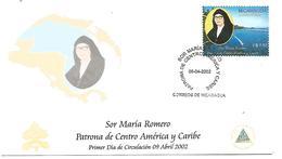 NICARAGUA FDC 2002 SOEUR MARIA ROMERO PATRONNE DE L'AMERIQUE CENTRALE ET CARAÏBES