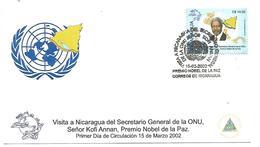 NICARAGUA FDC 2002 KOFI ANNAN PRIX NOBLE PAIX