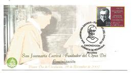 NICARAGUA FDC 2002 CANONISATION SAN JOSEMARIA ESCRIVA FONDATEUR DE L'OPUS DEI