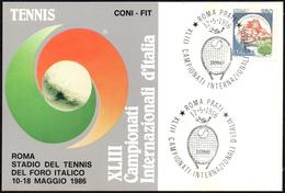 TENNIS - ITALIA ROMA 1986 - XLIII CAMPIONATI INTERNAZIONALI D´ITALIA - CARTOLINA UFFICIALE CON ANNULLO 12.05.1986