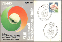 TENNIS - ITALIA ROMA 1986 - XLIII CAMPIONATI INTERNAZIONALI D´ITALIA - CARTOLINA UFFICIALE CON ANNULLO 18.05.1986
