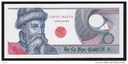 """Echantillon DE LA RUE """"Gutenberg - Type J"""" Testnote, Mit Intaglio, Eins. Druck, RRR, UNC, SPECIMEN - Banknoten"""