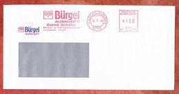Brief, Neopost H01-1534, Stilisierte Eule, Buergel Auskunft Bernd Schaefer, 100 Pfg, Kaiserslautern 1990 (38210) - Machine Stamps (ATM)