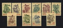 UNGARN - Mi-Nr. 1561 - 1570 Flugzeuge über Sehenswürdigkeiten Postfrisch
