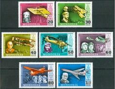 1978 Mongolia Aerei Aircraft Avions Aviatori Airmen Aviateurs Set & Block MNH**Lux12-169
