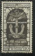 ITALIA REGNO ITALY KINGDOM 1934 DECENNALE ANNESIIONE FIUME DECENNIAL ANNEXATION CENT. 10 USATO USED OBLITERE'