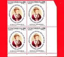 Nuovo - MNH - COLOMBIA - 1975 - Anno Internazionale Della Donna - Maria José Collazos - 4.00 - Quartina