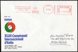 TENNIS - ITALIA ROMA 1986 - XLIII CAMPIONATI INTERNAZIONALI D´ITALIA - METER CONI SU BUSTA UFFICIALE