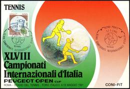TENNIS - ITALIA ROMA 1991 - XLVIII CAMPIONATI INTERNAZIONALI D´ITALIA - ANNULLO 12.05.1991 - CARTOLINA UFFICIALE