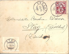 Brief  Cressier - Stäg Tössthal            1885
