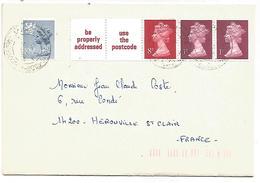 GB AFFRANCHISSEMENT COMPOSE SUR CARTE POUR LA FRANCE 1980 - Marcofilia
