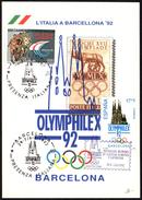 OLYMPIC - ITALIA BARCELONA 1992 - OLYMPHILEX ´92 - PRESENZA ITALIANA - CARTOLINA UFFICIALE POSTE ITALIANE