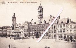 """MONS - Hôtel De Ville Et Beffroi - A Droite""""Restaurant Beauséjour-Local De L'Ecole Générale De Tir-Au Nouveau Vénitien"""""""