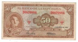 Colombia 50 Pesos Oro, 1964,  Crisp VF. Free Ship. To USA. - Colombia