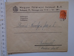 D149824 Hungary    Cover  -Magyar Földrajzi Intézet -Geographical Institute    Budapest  -1942