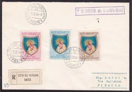1954 Vaticano Vatican Storia Postale MATER MISERICORDIAE Serie Di 3v. Su FDC Viaggiata Racc.1873 VATICANO FIRENZE