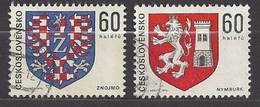 Tschechoslowakei Czechoslovakia 1975 Used Mi 2252-53 Sc 2000-01 Coat Of Arms Heraldry Wappen