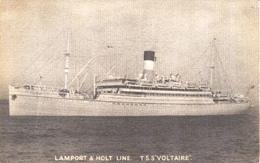 """Photo  -  Lamport & Holt Line : T.S.S. """"Voltaire"""" - Paquebote"""