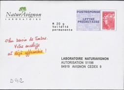 D912 - Entier / Stationery / PSE - PAP Réponse Beaujard - NaturAvignon - Agrément 12P067