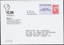 D964 - Entier / Stationery / PSE - PAP Réponse Beaujard, Institut Du Cerveau -  Agrément 13P057