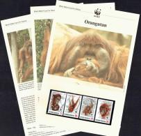 1989 Indonesia - Orangutan   Set Of 4 MNH On WWF Descriptive Sheets