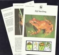 1988  Fiji  - Tree FRog    Set Of 4 MNH On WWF Descriptive Sheets