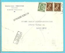 424+427 Op Brief Stempel MONS, Naamstempel (Griffe) WASMES (BORINAGE , Naar PARIS, Stempel RETOUR...