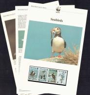 1989  Seabirds Puffin, Guillemot, Cormorant, Kittiwake  MNH Set Of 4  On WWF Illustrated Description Sheets