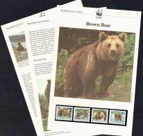 1988  Yugoslavia  Brown Bear   MNH Set Of 4  On WWF Illustrated Description Sheets