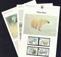 1987  USSR  Polar Bear   MNH Set Of 4  On WWF  Illustrated Descriptive Sheets