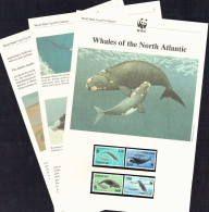 1990  Faroe  Whales:    MNH Set Of 4  On WWF  Illustrated Descriptive Sheets