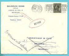401 Op Brief Stempel BRUXELLES Naar WATERLOO En MIDDELKERKE , Kleine Stempel RETOUR