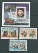 Nevis 1986 Discovery Of Americas & Columbus Set Of 3 Pairs & Miniature Sheet MNH