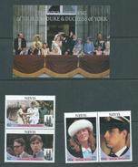 Nevis 1986 Prince Andrew Royal Wedding Set Of 2 & Miniature Sheet MNH