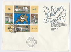 1980 HUNGARY  FDC MINIATURE SHEET Stamps EUROPA  Cover Bird Map - FDC