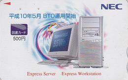 Carte Prépayée Japon - ORDINATEUR NEC - COMPUTER Japan Prepaid Card - PC Tosho Karte - 11 - Advertising
