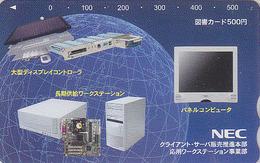 Carte Prépayée Japon - ORDINATEUR NEC - COMPUTER Japan Prepaid Card - PC Tosho Karte - 12 - Advertising