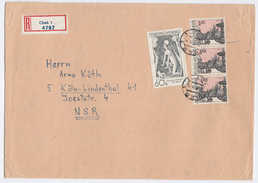 1971 REGISTERED CZECHOSLOVAKIA COVER  Stamps 3x 5k Praha , 1x 60h Art Stylized Female Nude To Germany