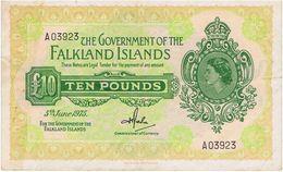 Falkland Islands 10£ 1975 A Rare Banknote - Falkland