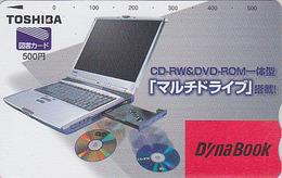 Carte Prépayée Japon - ORDINATEUR PORTABLE TOSHIBA & CD - COMPUTER / DYNABOOK Japan Prepaid Tosho Card - 20 - Publicité