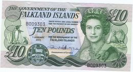 Falkland Islands 10£ 2011 B Series. Rare Banknote Mint Unc - Islas Malvinas